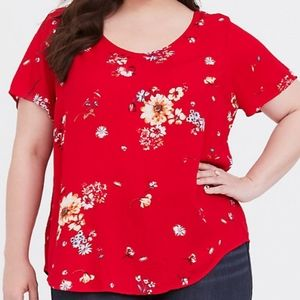 Torrid 1 Abbey Red Floral Gauze Button Back Blouse